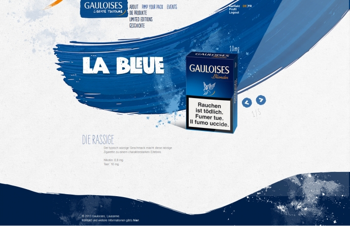 eLab Design Portfolio Gauloises Web