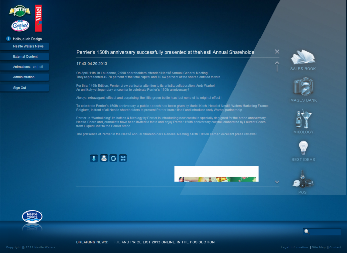 eLab Design Portfolio Nestle Waters - вътрешен сайт Web